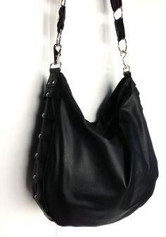 FREE SHIPPING  Black Leather Hobo Bag by karenkalashnik on Etsy, $209.00