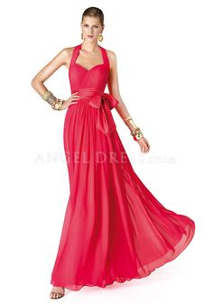 Chiffon Floor Length Halter A line Natural Waist Evening Dress With Sash/ Ribbon