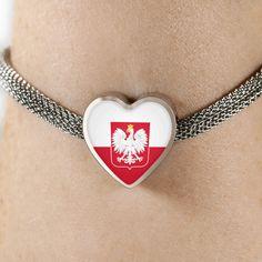 Polish Flag With Heart Charm Bracelet. Shop Polish Pride gear at mypolishheritage.com  #poland #polish #polishgirl #bracelet #polishpride