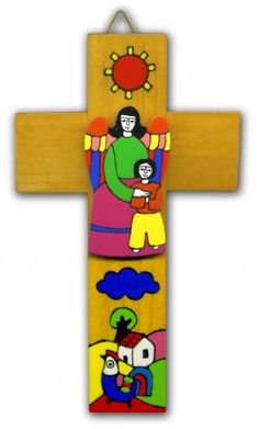 My Guardian Angel - Boy - colourful hand-made wooden cross from a fairly-traded co-operative in El Salvador. Leaving Gifts, My Guardian Angel, Religion, Hand Painted, Rosaries, Crosses, Bookmarks, Boys, Handmade