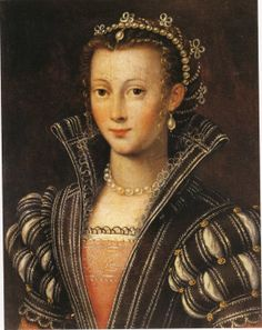 Very similar to another portrait I'm studying (Eleanora (Dianora) di Garzia de Medici) but I have no attribution information for this image. The colors of the undergowns are similar as well as the details of the partlet, sleeves, jewelry, etc.