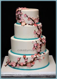 Cherry Blossoms Wedding Cake   Cakes by Maylene