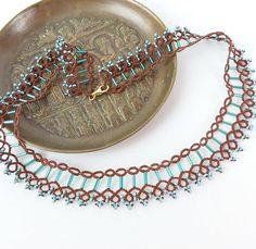 Contemporary collar necklace. Handmade tatting lace bib