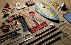 "soldier's kit fro, the year 1066 huscarl, Battle of Hastings 'The Anglo-Saxon warrior at Hastings is perhaps not so very different from the British ""Tommy"" in the trenches,' photographer Thom Atkinson says. At the Battle of Hastings, soldiers' choice of weaponary was extensive. Picture: THOM ATKINSON"