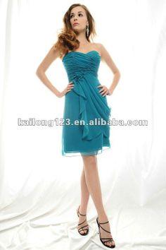 vestido de damas para quinceanera | ... un - línea cruz drapeados turquesa flores vestido de dama de honor