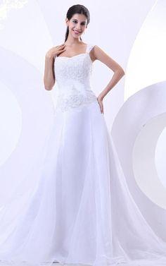 Elastischer Satin A-Line pompöse bodenlanges romantisches Brautkleid mit Tüll