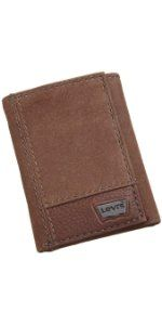 Levi's Men's Leather Trifold Two-Tone Wallet, Brown, One Size