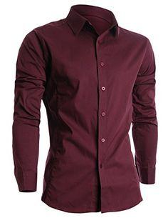 FLATSEVEN Mens Slim Fit Basic Dress Shirts Long Sleeve (SH400) Wine, M FLATSEVEN #shirts #Christmas #menswear #mens clothes #denim #mens fashion