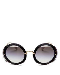 e758acedf5d4 MIU MIU Round Glitter-Illusion Frame Sunglasses, Pink. #miumiu ...