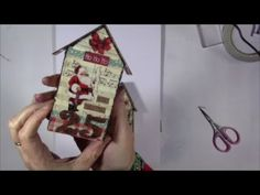making christmas houses using the Tim Holtz Tine Houses die by Sizzix - YouTube Christmas Houses, Christmas Projects, Christmas Cards, Christmas Decorations, Xmas, Putz Houses, Tiny Houses, Glitter Houses, Paper Houses