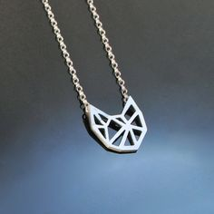 Silver Geo-Cat Pendant and Chain. Stylized cubist cat in a contemporary geometric style. $39