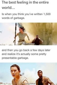 writing memes and funny writers Is when you think you've written words of garbage. and then you go back a few days later and realize it's actually some pretty presentable garbage. Writer Memes, Book Memes, Book Writing Tips, Writing Quotes, Writing Prompts, Story Prompts, Funny Relatable Memes, Funny Jokes, Hilarious