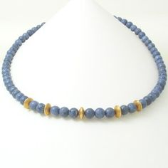 Caleb Meyer Blue Coral Necklace with 20KY Gold Beads #3221