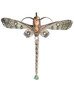 An Art Nouveau 18kt Gold, Diamond, Emerald, Ivory, and Plique-à-jour Enamel Brooch/Pendant. #ArtNouveau #brooch #pendant