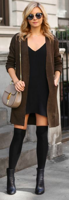 Laurie Ferraro + earthy and autumnal vibe + over the knee socks + ankle boots + oversized knit cardigan. + autumn like knitwear + include it within your look!  Cardigan: H&M, Dress: Aritzia, Socks: ASOS, Boots: Wittner, Bag: Chloe Drew.