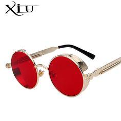 44daafd3f R$ 22.43 50% de desconto|Redonda de Metal Óculos de Sol Óculos de Steampunk  Homens Mulheres Moda Óculos de sol Marca Designer Retro óculos de Sol Do  Vintage ...