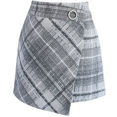 Chicwish Tender Tartan Tweed Flap Skirt in Grey (120 PEN) ❤ liked on Polyvore featuring skirts, mini skirts, bottoms, grey, tweed mini skirt, short skirts, grey plaid skirt, gray skirt and grey skirt