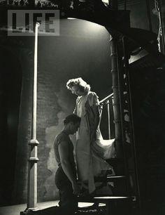 Kim Hunter & Marlon Brando in the Broadway production of  A STREETCAR NAMED DESIRE, 1947