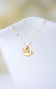 Tiny Gold Bird Necklace little bird charm on