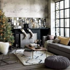 Modern Christmas Decorated Living Rooms-02-1 Kindesign
