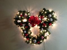 My Mickey Mouse light up christmas wreath! It turned out so good!!! #mickey #christmas #wreath #diy
