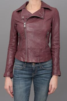 Falls Hottest Hue: Burgundy!  Rock an edgy burgundy leather jacket, the side zipper adds some visual appeal. Perfect for your fall everyday jacket!
