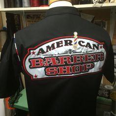 American Barbershop custom made old school barber smock with large appliqué Barber Man, Barber Shop, Classic Haircut, Barber Supplies, Stylish Haircuts, Hair Shop, Beard Trimming, Layered Cuts, Hair And Beard Styles