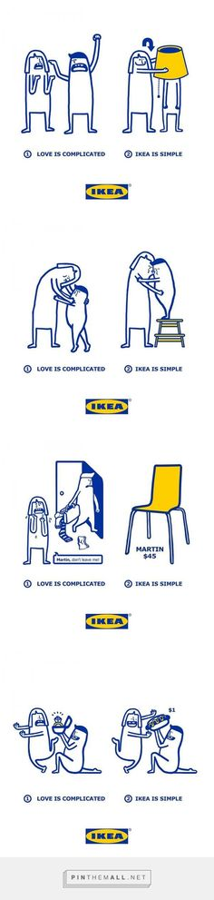Cute Illustrations Show How Complicated Love Is Made Simpler With IKEA Products... - a grouped images picture