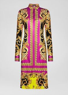 Versace Barocco Femme Print Shirt Dress for Women Kpop Fashion Outfits, Girls Fashion Clothes, Clothes For Women, Elegant Midi Dresses, Casual Dresses, Eid Dresses, Classy Outfits, Beautiful Outfits, Church Suits And Hats