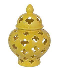 Another great find on #zulily! Yellow Pierced Small Ceramic Jar #zulilyfinds