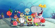 The all-time favourite Cartoon-Sea Creatures (and Sandy) in my Art-Style. The SpongeBob-Gang Spongebob Squarepants Tv Show, Spongebob Memes, Cool And Funny Wallpapers, Latest Wallpapers, Wallpaper Wallpapers, Spongebob Background, Spongebob Drawings, Spongebob Patrick, Cartoon Wallpaper Iphone