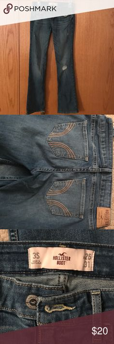 Hollister jeans Light blue W26/L31 boot cut, a few rips Hollister Jeans Boot Cut