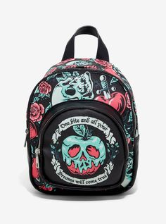 Need something to carry all of your poison apples? This mini backpack from your favorite Disney villain, the Evil Queen, features a collage of skulls, roses,. Jack Disney, Backpack Purse, Crossbody Bag, Cute Mini Backpacks, Stylish Backpacks, Snow White Evil Queen, Poison Apples, Disney Outfits, Disney Clothes