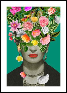 Colourful poster in tropical colours with a classic motif of the Mexican artist Frida Kahlo. Frida Kahlo is mostly known as the Poster Mural, Kunst Poster, Poster Prints, Art Posters, Abstract Posters, Quote Prints, Floral Posters, Nature Posters, Poster Poster