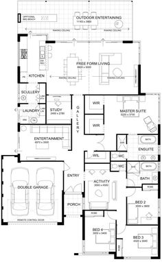 This is a good plan! I think it will tick all the boxes for many families looking at building a new home. The kids bedrooms The post Floor Plan Friday: High ceilings with perfect indoor/outdoor living appeared first on Children's Room. The Plan, How To Plan, Home Design Floor Plans, Plan Design, Modern Floor Plans, Modern House Plans, Dream House Plans, House Floor Plans, Family House Plans