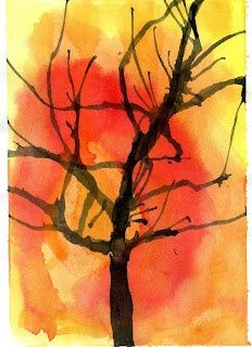 How to Paint Fall Trees - using watered down paint and blowing with straws #Christmas #thanksgiving #Holiday #quote