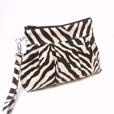 Zippered Wristlet Clutch Purse Zebra Stripes with by LMcreation