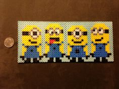 Minions perler beads design Made it for a friend Perler Bead Designs, Perler Bead Templates, Hama Beads Design, Diy Perler Beads, Pearler Beads, Melty Bead Patterns, Hama Beads Patterns, Minions, Cross Stitch Patterns