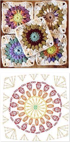 Transcendent Crochet a Solid Granny Square Ideas. Inconceivable Crochet a Solid Granny Square Ideas. Motifs Granny Square, Crochet Blocks, Granny Square Crochet Pattern, Crochet Diagram, Crochet Chart, Crochet Squares, Crochet Blanket Patterns, Crochet Motif, Knitting Patterns