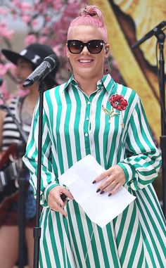 """Pink from The Big Picture: Today's Hot Pics  The""""Just Like Fire"""" singer is spotted performing a soundcheck before her concert on Hollywood Boulevard during the Alice Through the Looking Glass premiere in Hollywood."""