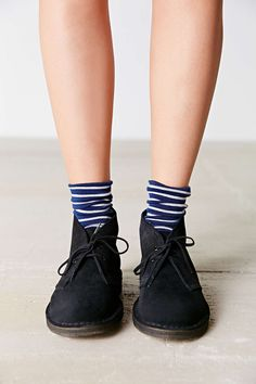 Clarks Suede Desert Boot - Urban Outfitters, love the striped blue socks too! Desert Boots, Clarks Desert Boot, Half Shoes, Me Too Shoes, Comfy Shoes, Comfortable Shoes, Trendy Shoes, Casual Shoes, Sock Shoes