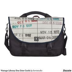Vintage Library Due Date Cards Computer Bag