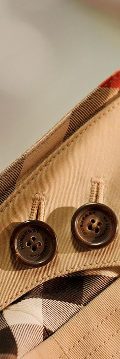 A Burberry Heritage Trench Coat design detail – the throat latch is hand-sewn to the collar