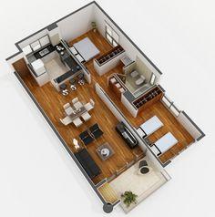 Plano de apartamento de 2 habitaciones                                                                                                                                                     Más