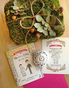 手作りウェディングアイディア: オリジナルイラスト入りの結婚式の招待状