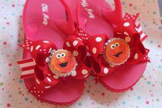 Make for Emma to match her dress Heeled Flip Flops, Pink Flip Flops, Elmo Birthday, Birthday Parties, Birthday Ideas, Hello Kitty Crafts, Sesame Street Party, Elmo Party, 4 Kids