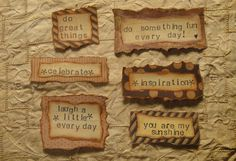 These vintage handmade tags can be used in so many different ways. Use them for scrapbook pages, cards, art journalling, or more! These are one of a kind designed by me in the comfort of my home. They are made from a variety of papers and antiqued to give them a vintage look. No two are alike although I can reproduce the same sayings onto other paper if you would like. I am also able to make customized sayings if you would like to contact me. I have been crafting all my life and have just…