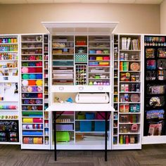 If you live in a small apartment, or if you live in a big apartment but love to be neat and tidy, you'll love these organizational hacks! We found 24 of the coolest and most useful products to help you get organized and maximize your space. Craft Room Storage, Diy Storage, Craft Storage Cabinets, Craft Shelves, Arts And Crafts Storage, Game Storage, Fabric Storage, Small Space Interior Design, Interior Design Living Room