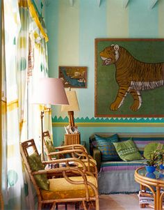 Eclectic Sunroom Miami Moroccan Decor in a sunroom via House Beautiful