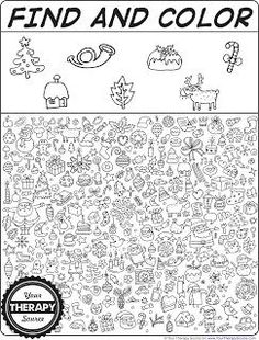 Find and Color Christmas Doodle Freebie - Your Therapy Source